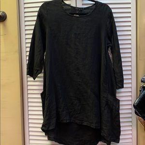 NWT cutloose black linen tunic sz m